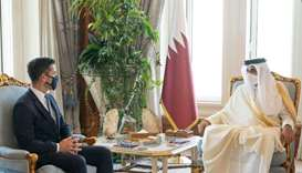 His Highness the Amir Sheikh Tamim bin Hamad Al-Thani meets with the US Acting Secretary for the Dep