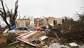 The aftermath of a tornado in Rowlett, Texas