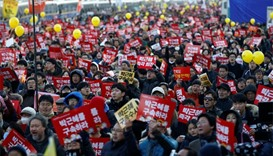 People celebrating the impeachment of South Korean President