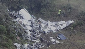 Debris of the LaMia airlines aircraft