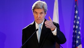 US Secretary of State John Kerry attends a news conference after a meeting in Paris, France