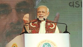 Prime Minister Narendra Modi speaks at the inauguration of the Amul cheese and whey drying plant, in