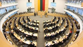 Lithuanian parliament during a swearing-in ceremony of the country's new Prime Minister and his cabi