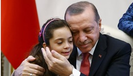 Turkish President Erdogan meets with Syrian girl Bana Alabed