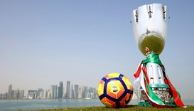 General view of the Italian Super Cup trophy against the Doha skyline