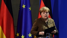 German Chancellor Angela Merkel address a press conference at the Chancellery in Berlin