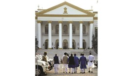 West Bengal ruling Trinamool Congress Party leaders arrive at the Raj Bhawan to meet Governor Keshri