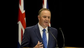 New Zealand Prime Minister John Key announcing his resignation at Parliament