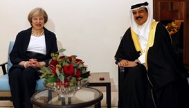 Britain's PM Theresa May meets Bahrain's King ahead the GCC Summit in Manama