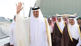 HH the Emir bids farewell King Salman