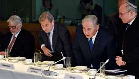 Israel's Prime Minister Benjamin Netanyahu attends a meeting with European Union foreign ministers i