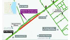 Six-month traffic diversion on Al Khor Road