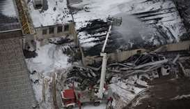 Aerial view of a fire engine working at Austria's main gas pipeline hub at Baumgarten  in Eastern Vi