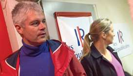 This picture taken on Sunday shows Wauquiez and his wife Charlotte at the party headquarters.