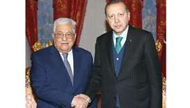 Turkish President Tayyip Erdogan meets with Palestinian President Mahmoud Abbas in Istanbul, yesterd