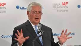 US Secretary of State Rex Tillerson speaks during a forum on US-South Korea relations at the Atlanti