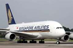 A Singapore Airlines' A380 fitted with newly launched cabin products arrives at Changi Airport