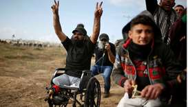 Wheelchair-bound Palestinian demonstrator Ibraheem Abu Thuraya, who according to medics was killed l