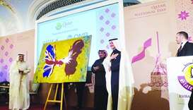 Qatar ambassador to the UK Yousef Ali al-Khater with Qatari artist Nasser al-Attiyah who presented a