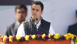 Newly elected President of the Indian National Congress party Rahul Gandhi speaks during a ceremony