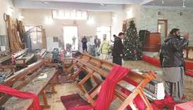 The interior of the church in the aftermath of the attack.