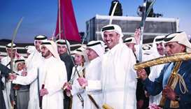 His Highness the Emir Sheikh Tamim bin Hamad al-Thani participates in Ardha
