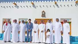 Mowasalat managing director and CEO Khalid al-Hail and others at the National Day celebrations.