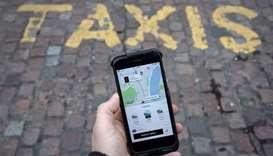 Uber app on a mobile telephone