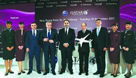 Akbar al-Baker and Qatar ambassador to Russia Fahad bin Mohamed al-Attiyah with Russian and Pulkovo