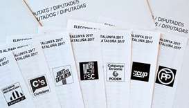 Picture shows election ballots of the main Catalan political parties ahead of the upcoming Catalan r