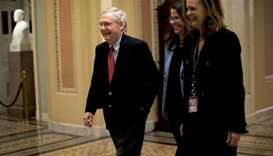 US Senate Majority Leader McConnell walks to the Senate floor as debate wraps up over the Republican