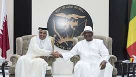 His Highness the Emir Sheikh Tamim bin Hamad Al-Thani  and  Mali president Ibrahim Boubacar Keta sha