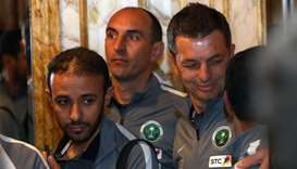 Players of the national football team of Saudi Arabia leave a news conference on Gulf Cup of Nations