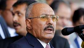 Yemen's former President Ali Abdullah Saleh addresses a rally held to mark the 35th anniversary of t