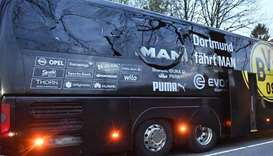 The Borussia Dortmund football team's bus which was attacked