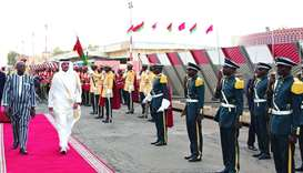 His Highness the Emir Sheikh Tamim bin Hamad al-Thani, accompanied by Burkina Faso President Roch Ma