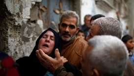 Relatives of a Palestinian demonstrator who was killed during clashes with Israeli troops on Friday,