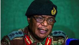 General Constantino Guveya Chiwenga (C) speaking during a press conference at the Tongogara Barracks