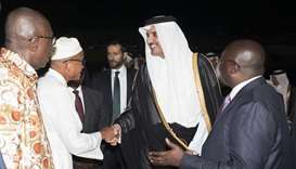 Ghanaian officials greet His Highness the Emir Sheikh Tamim bin Hamad al-Thani as Vice President Dr