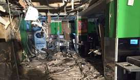 An interior view of a supermarket is seen after an explosion in St Petersburg, Russia