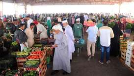 A view of the busy vegetable market at the Central Market in Abu Hamour