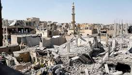 The remains of buildings bombed in Raqqa.