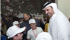 His Highness the Emir Sheikh Tamim bin Hamad al-Thani visited yesterday the 28th Doha International