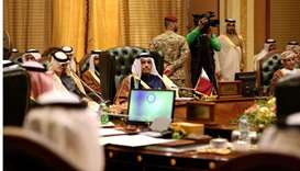 Qatari Foreign Minister Mohammed bin Abdulrahman al-Thani (C) attending the meeting of the Gulf Coop