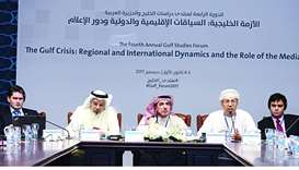 The panelists during the discussion 'The Policies of the Gulf States towards the Crisis.'