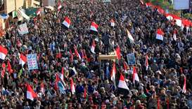 Supporters of Yemen's Huthi rebels attend a rally celebrating the death of Yemeni ex-president Ali A