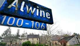 A street sign of Alwine, a splinter settlement of the town Uebigau-Wahrenbrueck, eastern Germany