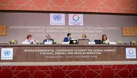 UN Secretary General Antonio Guterres attends the Intergovernmental Conference to Adopt the Global C
