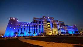 Qatar buildings light up in blue to mark the 70th anniversary of  UDHR