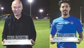 Al Sadd coach Jesualdo Ferreira (left) and striker Baghdad Bounedjah